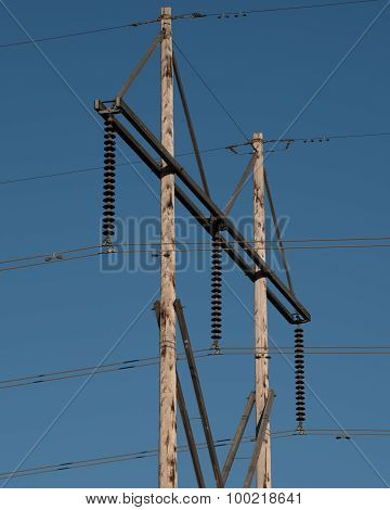 Wood Electric Power Pole