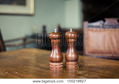 Salt And Pepper Shaker On Table In Dining Room