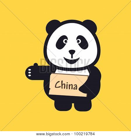 Hitchhiking Panda Holding Thumbs Up And Trying To Stop Car.