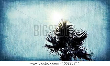 Palm Tree Abstract Blue Grunge Background