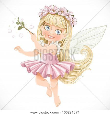 Cute Little Spring Fairy Girl In A Pink Tutu With A Magic Wand I