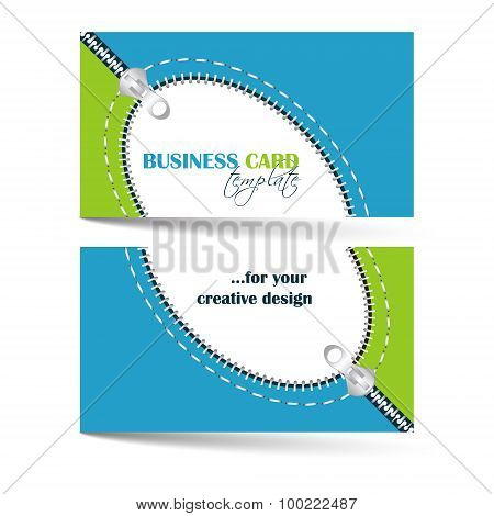 Creative business card template with zip arc, can be used for company or individual presentation