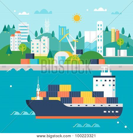 Container Cargo Ship and Port with Cranes, Warehouses, Tanks and Buildings. International Shipping I