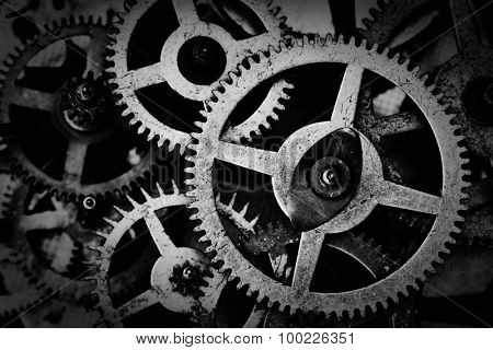 Grunge gear, cog wheels black and white background. Concept of industrial, science, clockwork, technology.