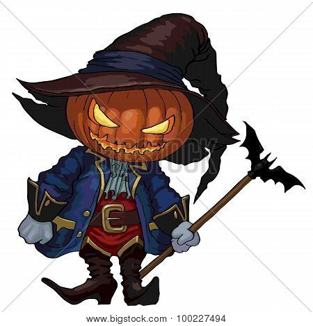 Halloween Character Jack-o-lantern In A Hat And Carnival Medieval Costume.