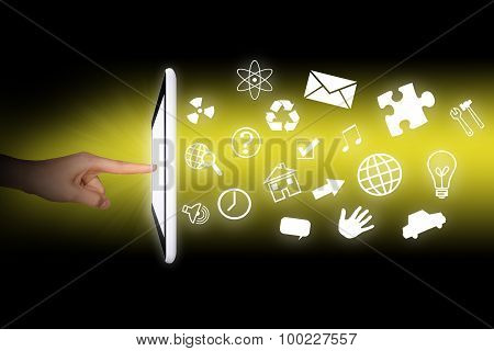 Humans hands using tablet