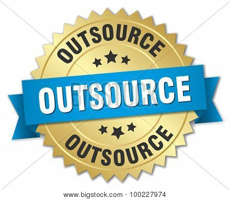 Outsource 3D Gold Badge With Blue Ribbon