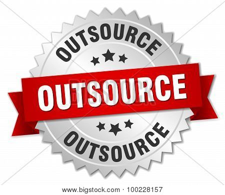 Outsource 3D Silver Badge With Red Ribbon