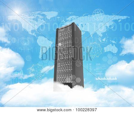 Metal locker on cloud in sky