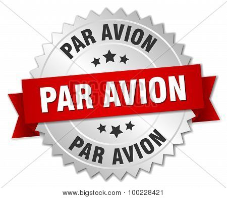 Par Avion 3D Silver Badge With Red Ribbon