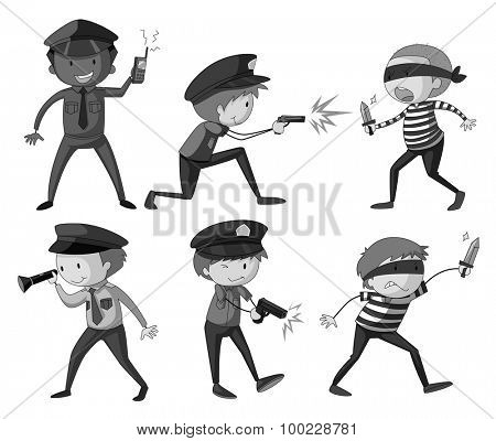 Police and thieves in black and white illustration