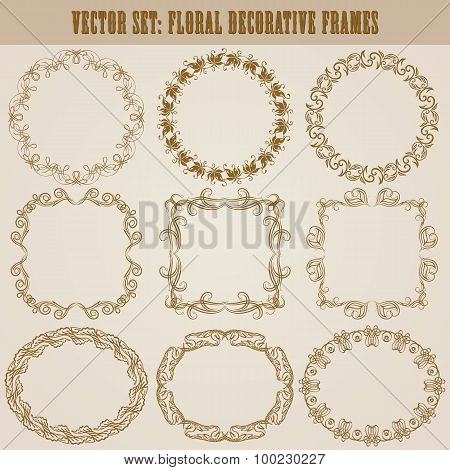 Set of 9 floral decorative frames