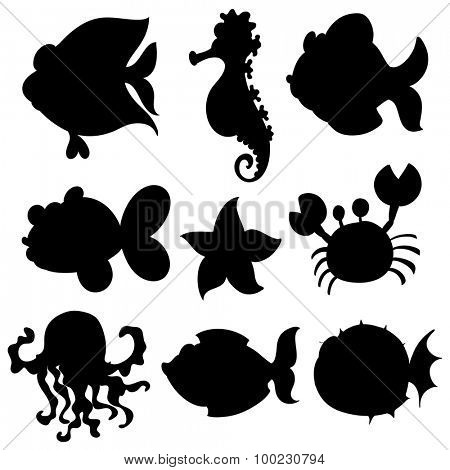 Set of aquatic animals in black illustration