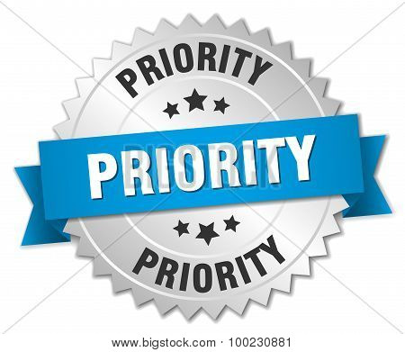 Priority 3D Silver Badge With Blue Ribbon