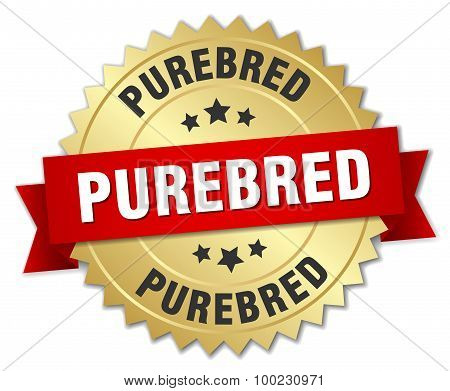 Purebred 3D Gold Badge With Red Ribbon