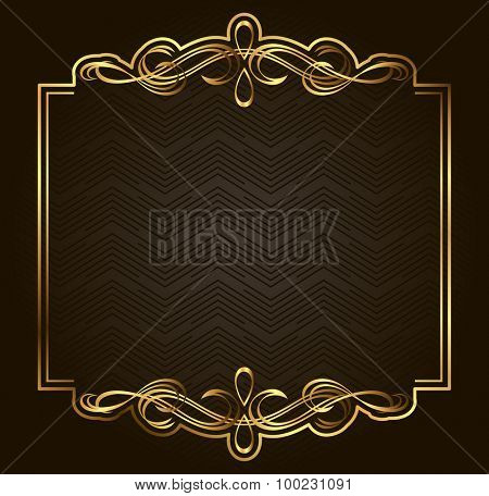 Retro vector gold frame on dark background. Premium design element