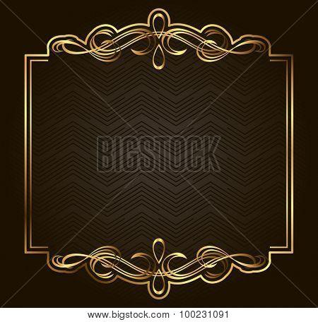 Retro vector gold frame on dark background. Premium design element