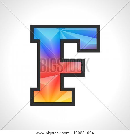 Vector Geometric Gradient Design Triangular Polygonal Font. Children letter F
