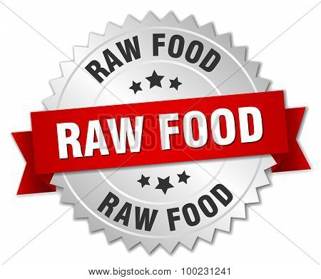 Raw Food 3D Silver Badge With Red Ribbon
