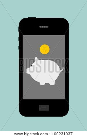Flat Conceptual Illustration Of Piggy Bank With Mobile Phone
