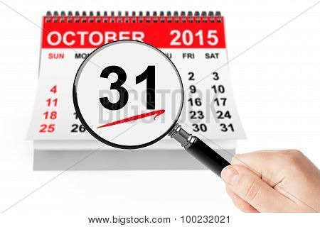 All Saints Day Concept. 31 October 2015 Calendar With Magnifier