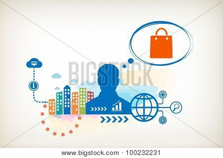 Shopping Bag And Person With Bubbles For Dialogue.