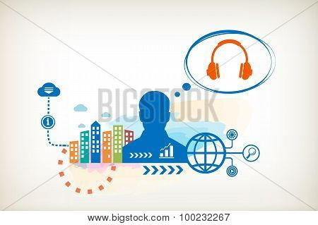 Headphones And Person With Bubbles For Dialogue.