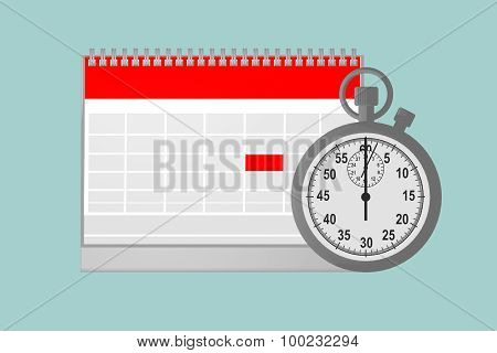 Flat Conceptual Illustration Of Blank Paper Calendar With Stopwatch