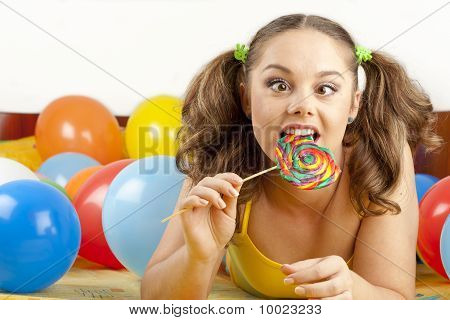 Young Woman Having Fun Playing