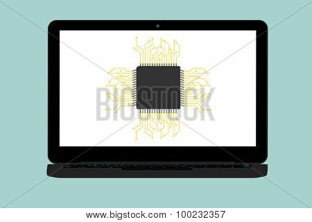 Flat Conceptual Illustration Of Micro Chip And Modern Laptop