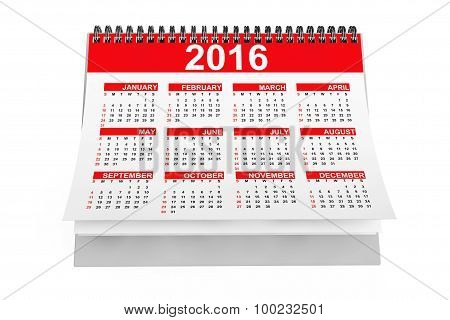 2016 Year Desktop Calendar