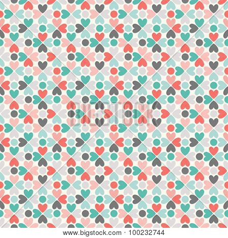 Floral  seamless pattern. Red, green, black and white