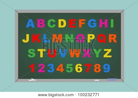 Flat Conceptual Illustration Of Alphabet Toy Magnetic Letters Over Blackboard
