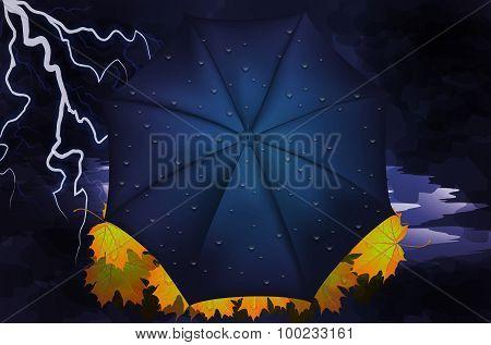 Autumn. Yellow Leaves, Lightning And Umbrella