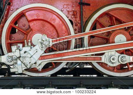 Wheels Closeup Retro Locomotive Of Red Color