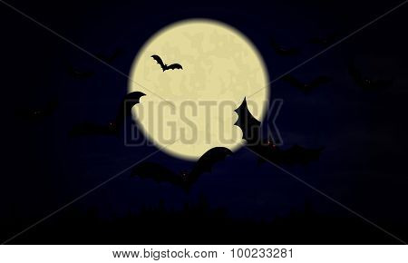 Halloween.night Sky With Moon And Bats.