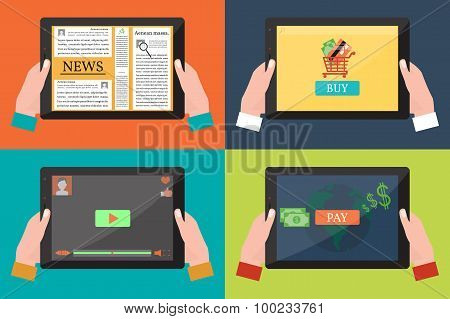Human Hands Holding a Black Tablet with Apps.