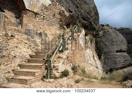 The Stairs Near The Path Leading To Saint Joan Hermitage At Montserrat Monastery, Spain