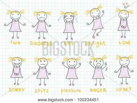 Set of emotions of a little girl. Sketch on notebook page