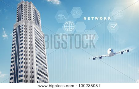Jet with buildings and icons