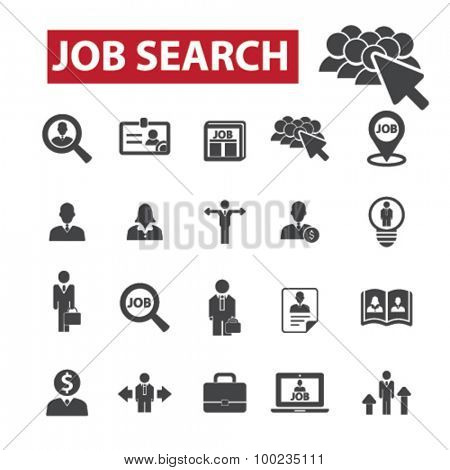 Job search black isolated concept icons, illustrations set. Flat design vector for web, infographics, apps, mobile phone servces