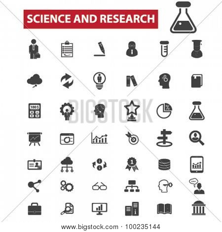science, research, education black isolated concept icons, illustrations set. Flat design vector for web, infographics, apps, mobile phone servces