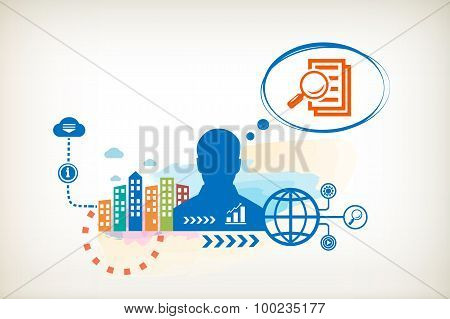 Document File And Person With Bubbles For Dialogue.