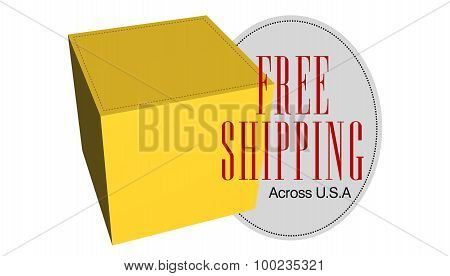 3D free shipping box and badge on White background