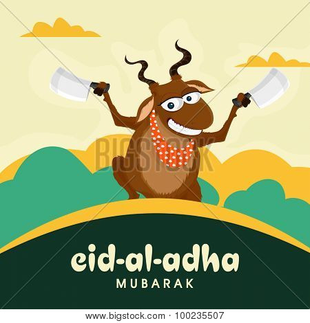 Funny goat holding cleaver knife in both hands on cloudy background for Islamic Festival of Sacrifice, Eid-Al-Adha celebration.