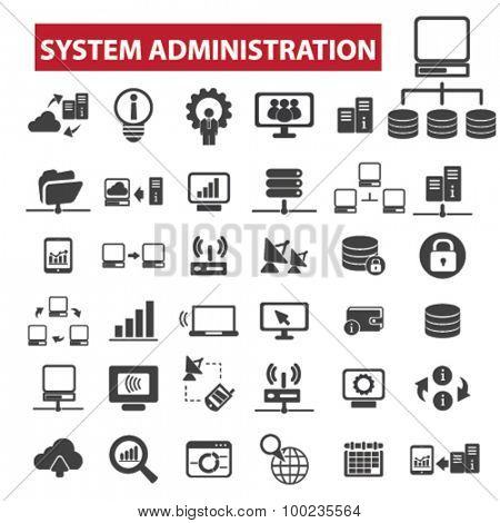 system administration black isolated concept icons, illustrations set. Flat design vector for web, infographics, apps, mobile phone servces
