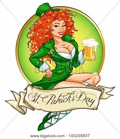 Beautiful Irish girl with beer