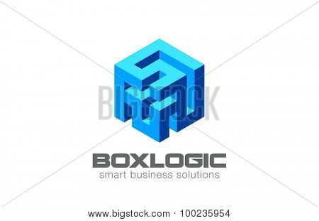 Logic Puzzle Labyrinth Box Logo Abstract design vector template. Creative Business Technology Logotype concept icon.
