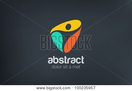 Fitness Gym Sport Logo abstract man design vector template. Active, Spa, Healthcare logotype concept icon.