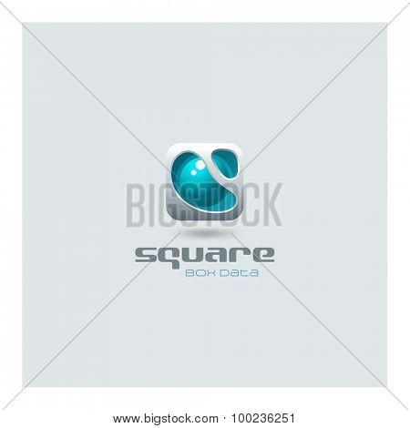Business Square abstract Logo futuristic media web technology design vector template. Sci-fi creative hitech style electronic box logotype icon.